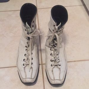 Hogan white leather sneaker boot
